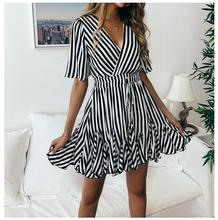 1 piece Summer 2019 Short Sleeve bright color Stripped Tshirt Dress Cotton Front Knot drawstring strip Mini Dress knot front tshirt