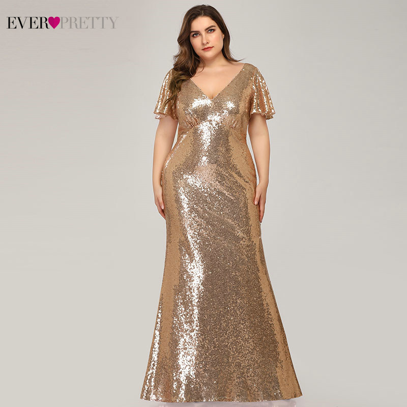 Plus Size Rose Gold Evening Dresses Long Ever Pretty V-Neck Short Sleeve Sequined Mermaid Party Gowns Vestido Longo Festa 2020