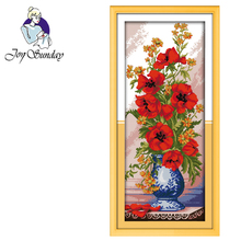 Joy Sunday,Poppy vase,cross stitch embroidery set,printing cloth embroidery kit,needlework,Flowers pictures cross stitch set joy sunday magnolia flower cross stitch embroidery set printing cloth embroidery kit needlework flowers picture cross stitch kit