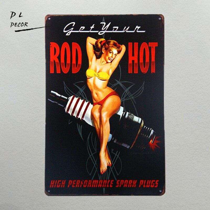 DL-Obtenir Votre Hot Rod-Haute Performance Bougies. Pin Up Fille Bougie Signe grand garage ou man cave signe