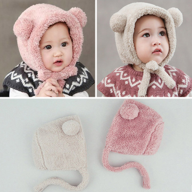 7701f7ed9 US $3.28 14% OFF|Girls Hats Newborn Baby Cashmere Baby Girl Cap Children's  Winter Hats For Girls Kids Winter Cap Warm Ear Warmer Bonnet Beanies-in ...