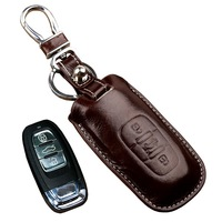 Car Leather Key Fob Cover Case for Audi Q5 A6 2015 A7 A8 2016 new A5 A4 2013 key holder key Glove Key Chain Auto Accessories