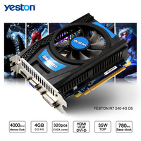 Yeston 라데온 R7 200 시리즈 R7 240 GPU 4 기가바이트 GDDR5 비트 게임 데스크탑 PC 비디오 그래픽 카드