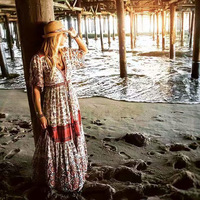 Printed Bohemia Dresses Women Expansion Dress Bikini Cover Up Beach V Neck Summer Dresses Beach Cover Up Beach Dress
