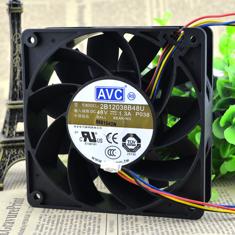 Free Shipping Original AVC 2B12038B48U-P038 DC 48V 1.3A 12cm 120mm 12038 Four-wire PWM cooling fans new original delta 12cm tha1248be 12038 48v 2 6a cooling fan