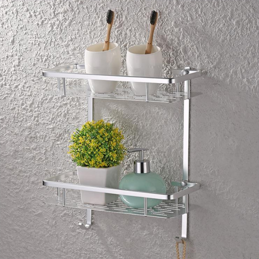 Bathroom Shelves Black White Wall Hook Shelf Aluminum Bathroom Towel Holder Towel Rack Cloth Robe Hook Coat Hanger Balcony Accessories Etagere Without Return Bathroom Fixtures