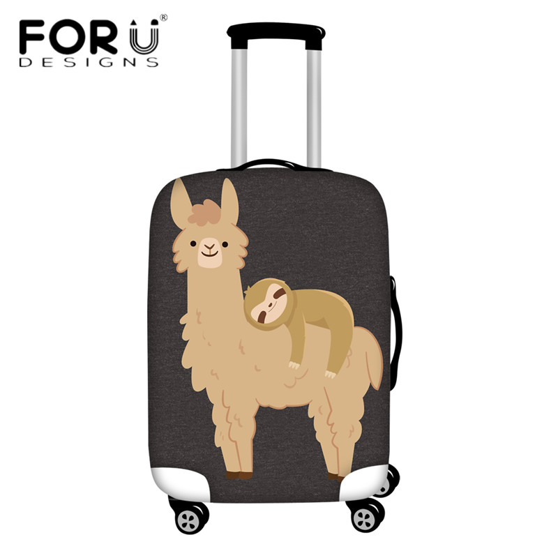 FORUDESIGNS Suitcase Protective Covers Adorable Sloth Relaxing On A Llama Design Funny Travel Luggage Cover Dust Rain Cover 2pcs