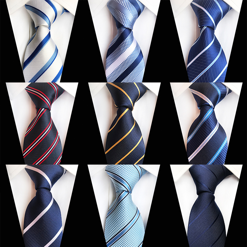 Casual Striped Neckties Men White Blue Business Formal Suit Tie Gravata Polyester Woven Pattern Wedding Party Silk Ties For Men