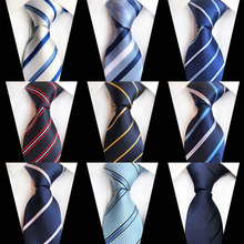 Casual Striped Neckties Men White Blue Business Formal Suit Tie Gravata Polyester Woven Pattern Wedding Party Silk Ties for