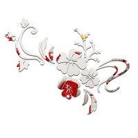 Yeni Moda Duvar Çıkartmaları Altın Gümüş Akrilik 3D Ayna Çiçek dekorasyon Vinil Çıkartmalar çocuklar çocuklar yatak odası Için