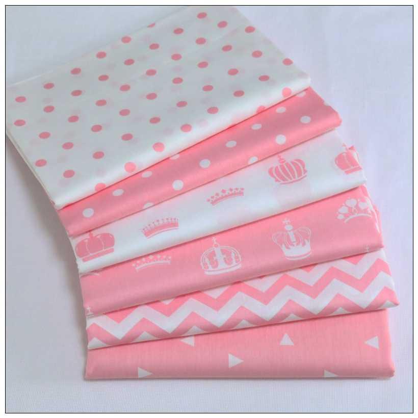 Tela de sarga de algodón 100% estampada, 6 piezas/nueva tela Rosa impresa para muebles, tela de bricolaje hecha a mano, sofá de cortina sewingcury 40x50