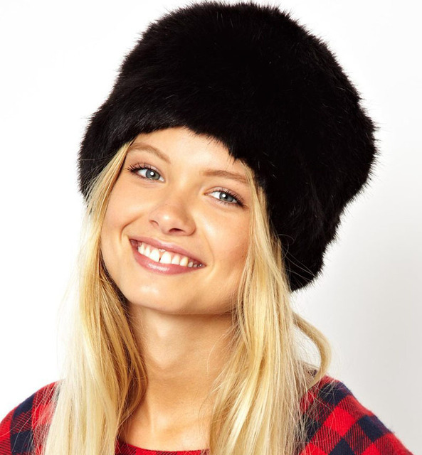 Cheap Casual Women Winter Beanie Hat Black Yellow Faux Fur Caps Winter Keep Warm Flat Cap Winter Hat Gorro Beanie Feminina CP086