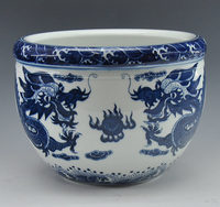 Chinese Antique Reproduction Blue And White Porcelain Ceramic Fish Bowl Flower Pot With Qing QianLong Mark
