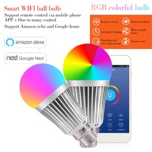 Smart WiFi Bulb Color Changing Bulb Remote Control Dimmable 7W E27 B22 RGBW LED Lamps WiFi Smart Lamp APP Work Fpr Google Home