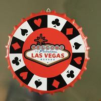 Welcome To Las Vegas Vintage Tin Sign 35 CM Round Beer Cap Home Decor Retro Metal Sign bar cafe pub poster