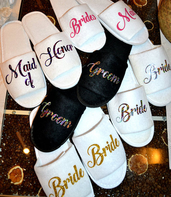 personalize glitter gold Wedding Slippers Bride Slippers Groom Slippers  custom Print shoes Black slippers-in Party DIY Decorations from Home    Garden on ... e74a8e8dbec3
