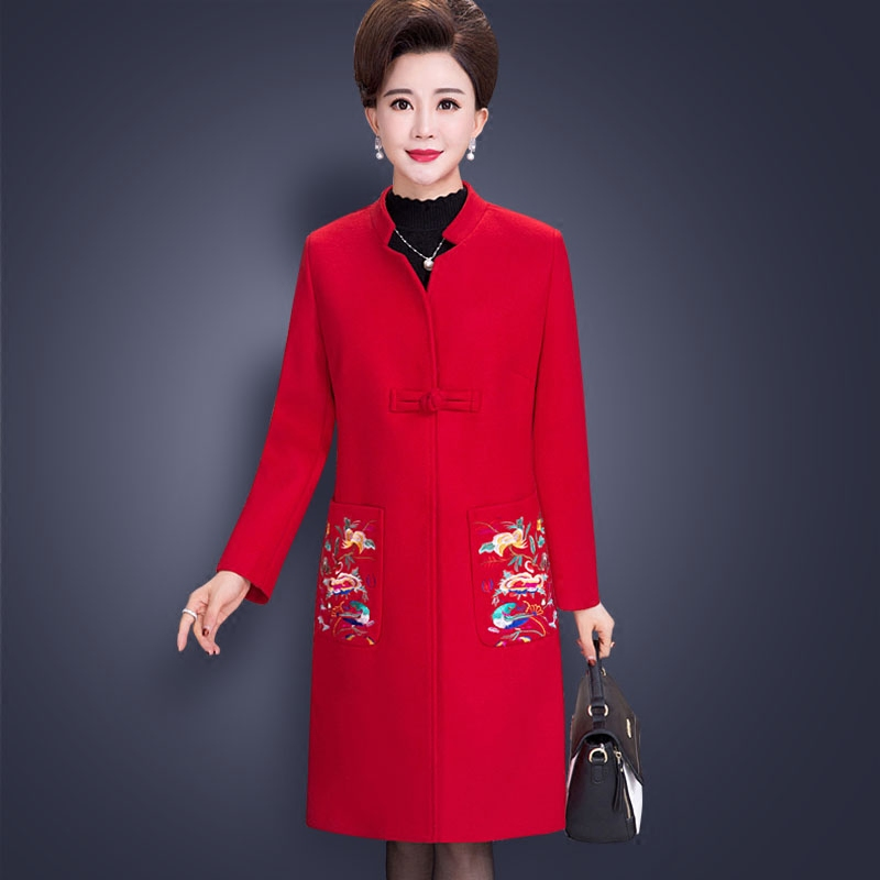 Laine D'hiver pourpre Feminino Style Veste rouge Femmes De Manteau Mince Pardessus Col Noir Chinois Longues Manches À Mandarin Femelle Mode YaqUxwtY
