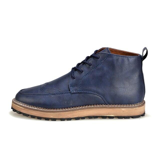2016 men's boots men's  martin boots men's PU flat shoes breathable lace up trending fashion shoes sh010083