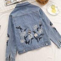 Large size S 2XL 2018 spring Women Denim Jacket Coat Floral Embroidery Casual Slim Outwear Vintage Blue Embroidered Jeans Jacket