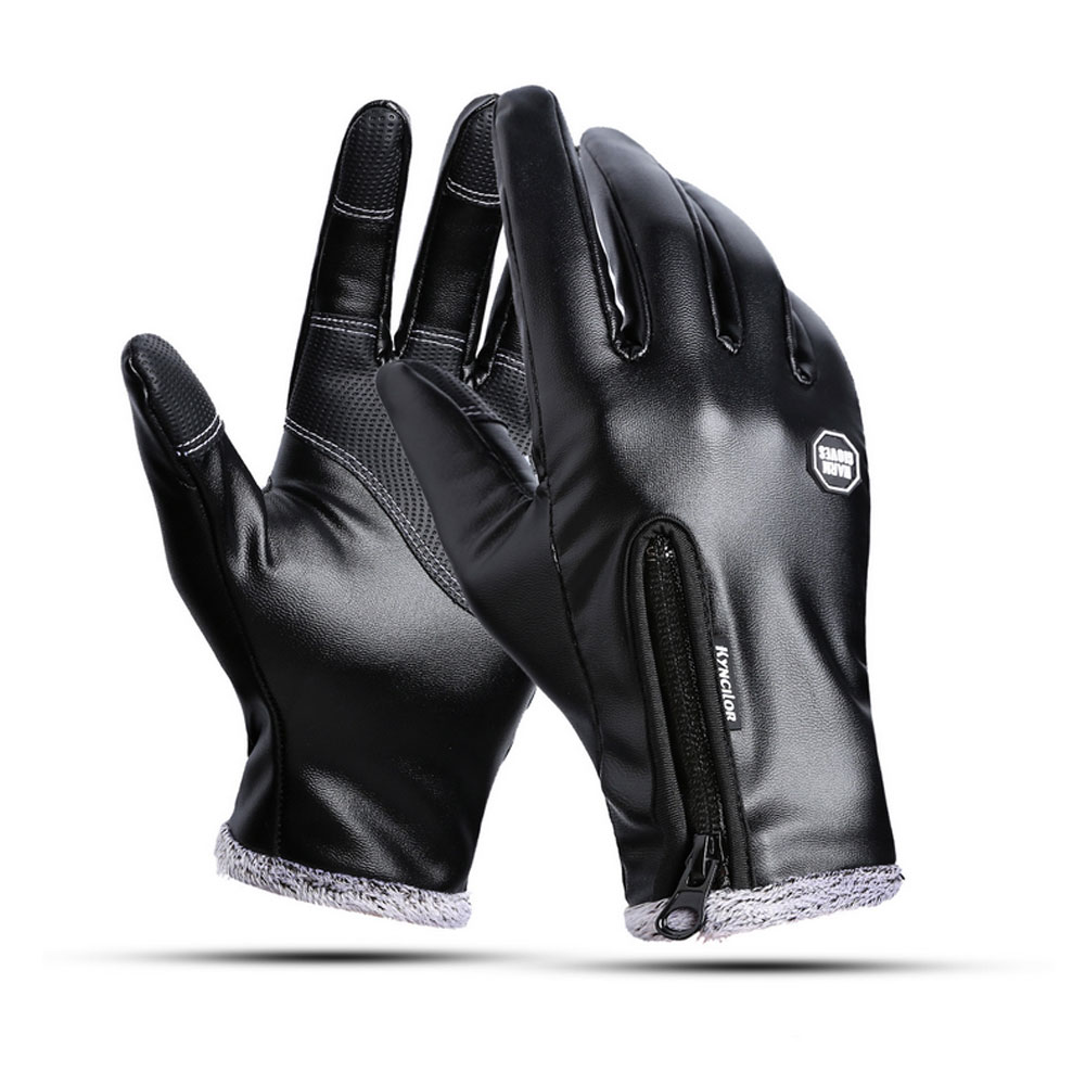 2018 Winter Outdoor Windproof Waterproof Zipper Leather Gloves Touch Screen Plus Velvet Warm Gloves Driving Riding