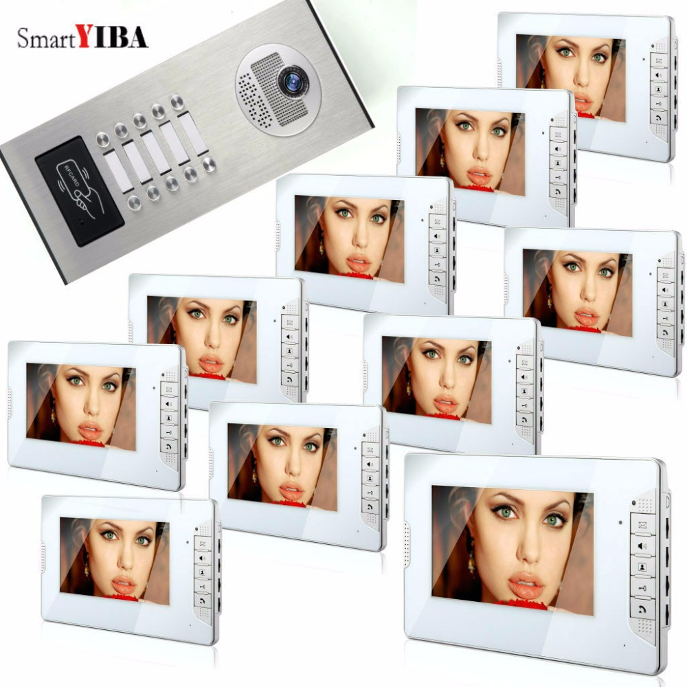 SmartYIBA Video Intercom 7 Inch Monitor Video Door Phone Doorbell Kit Night Vision RFID Access Doorbell Camera For 10 Apartment 7 inch video doorbell tft lcd hd screen wired video doorphone for villa one monitor with one metal outdoor unit night vision