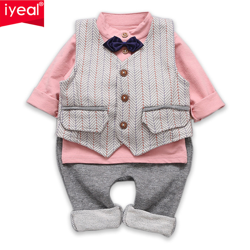 IYEAL Baby Boy Clothing Set Gentleman Kids Clothes Suits for Toddler Boys Cotton Vest + Shirts+Pants Children Infant Outfit 3PCS wedding suits for baby boys 3pcs set autumn 2017 new children s leisure clothing sets kids baby boy suit vest gentleman clothes