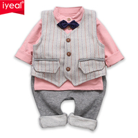 IYEAL Baby Boy Clothing Set Gentleman Kids Clothes Suits For Toddler Boys Cotton Vest Shirts Pants
