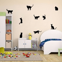 Removable DIY 9 Cats Wall Stickers Vinyl Home Mural 9 Cats Decals Decor Kids Art Wallpaper Vinyl Kids Bedroom Wall Decal AY364 фотошторы фернам bellino home page 9