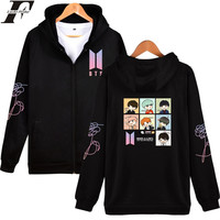 LUCKYFRIDAYF BTS Love Yourself Zipper Hoodies Women Kpop Sweatshirt Hoodies Bangtan Female Fans Women Men Zipper