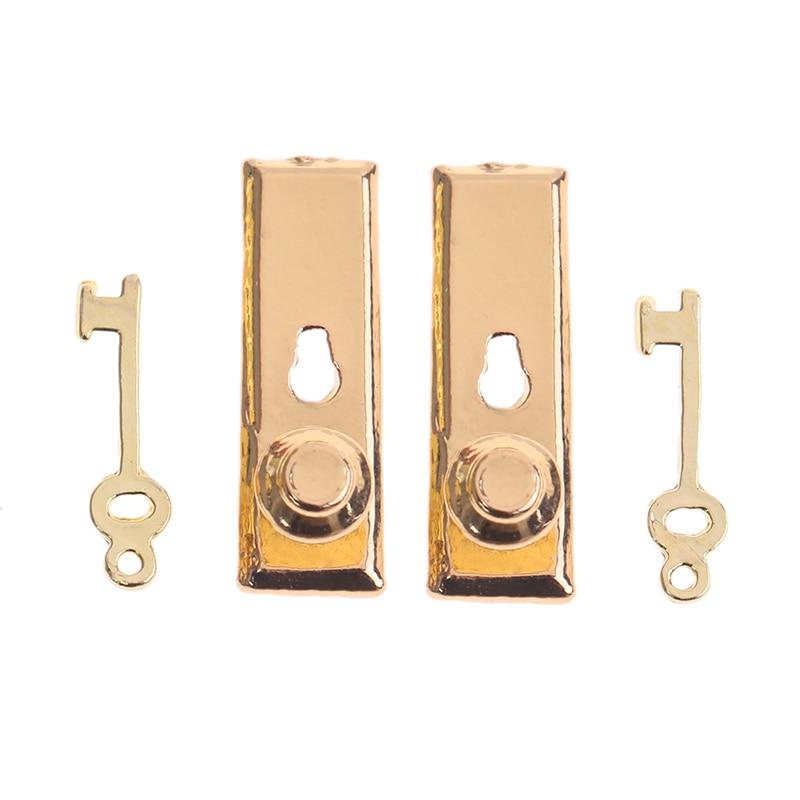 2 Sets Dolls House Furniture Door Lock & Key Dollhouse Accessories 1:12 Dollhouse DIY Mini House Hardware Accessories Lock Key