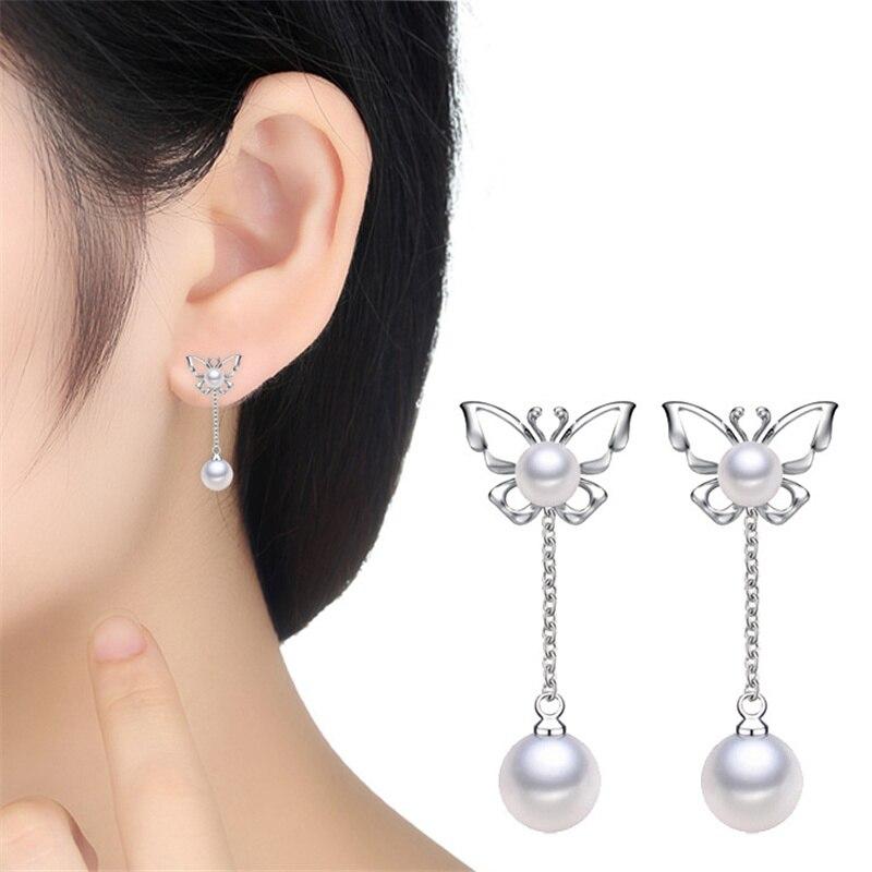 Tofol Pearl Pendant Earrings Silver Color Anti Allergic Earring Erfly Long Ear Nials Dangler Eardrop Earing Accessories In Drop From Jewelry