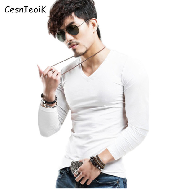Men's Tops Tees 2017 summer new v neck Long sleeve t shirt men fashion trends fitness tshirt