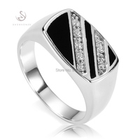 Eulonvan vintage male finger 925 sterling Silver Rings For Men Punk Black Resin and white Cubic Zirconia S-3777 size 7 8 9 10 11