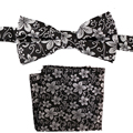 Tailor Smith Natural Silk Floral Bowtie Pocket Square Set Handmade Royal Quality Bow Tie Hanky Fashion Casual Mens Neckwear