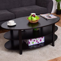 Giantex 3 Tier Wood Oval Coffee Table Modern Accent Cocktail Table With Storage Shelves Home Living