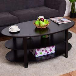 Giantex 3 уровня-деревянные овальные Кофе Таблица современный акцент журнальный столик с полками для хранения дома Гостиная мебель HW56633