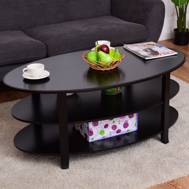 Oval Coffee Table With Shelf.Us 64 99 Giantex 3 Tier Wood Oval Coffee Table Modern Accent Cocktail Table With Storage Shelves Home Living Room Furniture Hw56633 In Coffee Tables