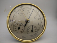 Golden face Precision Aneroid 128mm 3 in 1 Barometer With Thermometer and Hygrometer Humidity Silver Outdoor Fishing