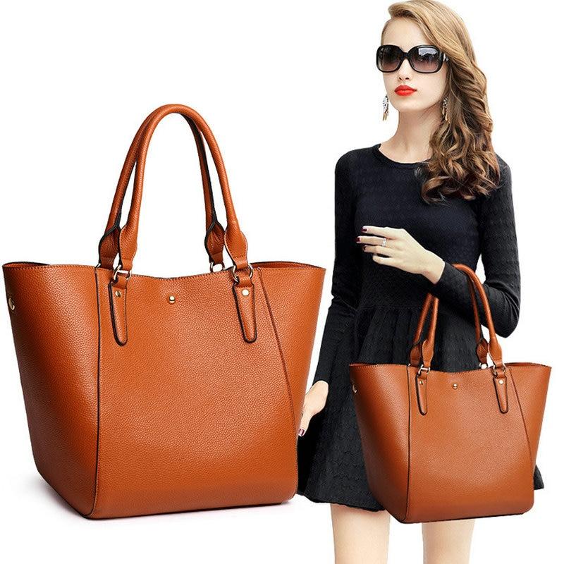 High Quality Leather Women Bag Bucket Shoulder Bags Solid Big Handbag Large Capacity Top handle Bags