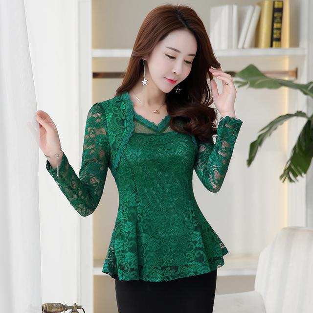 2019 Plus size Women clothing Spring lace Shirt Tops Cutout basic female Elegant long-sleeve Lace Blouses shirts M-4XL 117F
