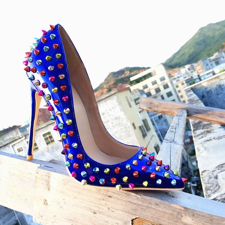 Verni Bout Femme Bleu Pointu Roi Cuir Nouveau Hauts En 12 Pic Talons Cm Ongles Stilettos Coloré z0q41I4