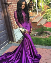 African Purple Lace Appliques Long Sleeves Prom Dresses 2019 Sexy Backless High Neck Mermaid Black Girls Evening Gowns Party Wea
