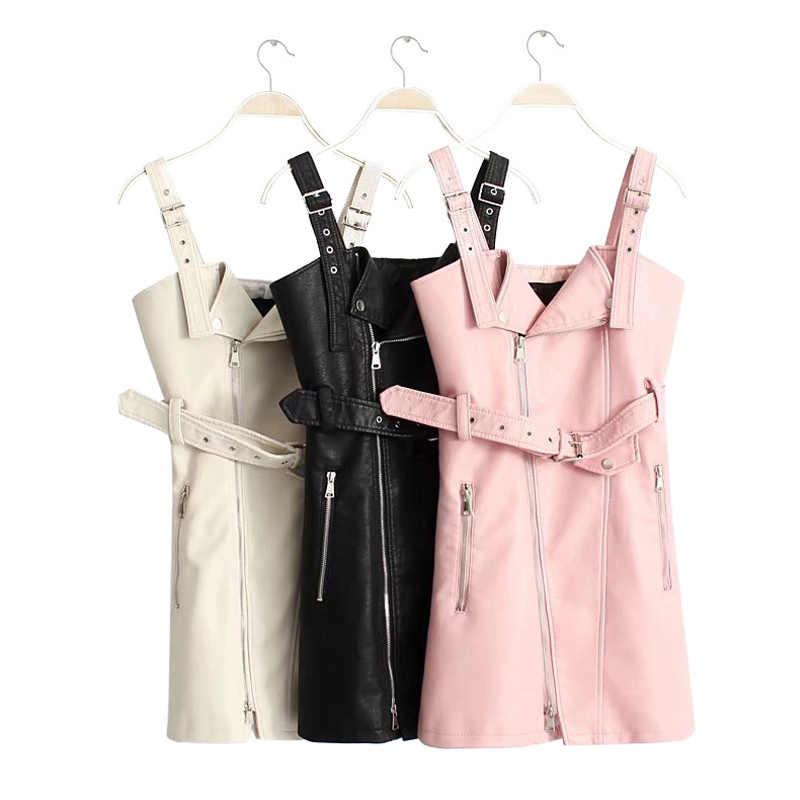 Herbst Faux PU Leder Mini Kleider Frauen Mit Gürtel Ärmelreißverschlüsse Punk Sexy Kleid Weibliche 2020 Winter Mode Dame Vestidos