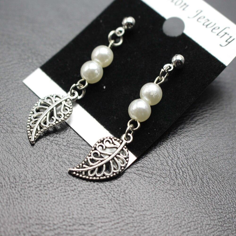 New Arrival Imitation Pearl Bead, Metal Tree Leaf Pendant Earrings Ear Ring Stud For Women Eardrop Christmas Gift