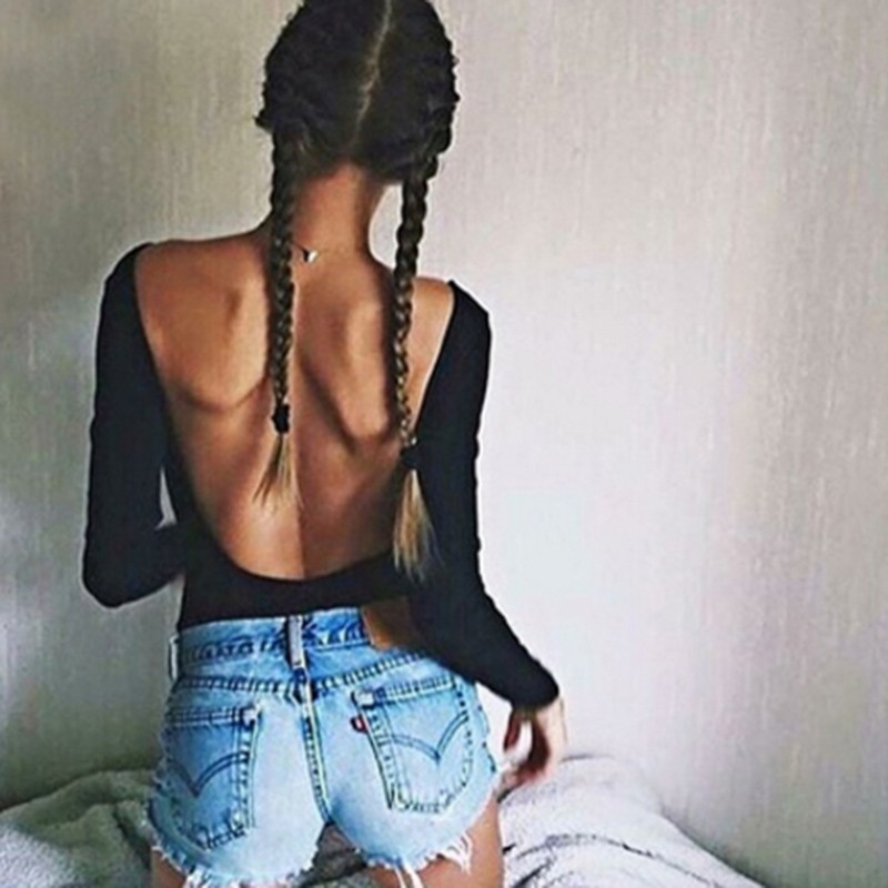 Backless Long Sleeve Autumn Bodysuit Women  Solid Slim Regular Bodysuits Sexy Hot Overalls Female Clothes
