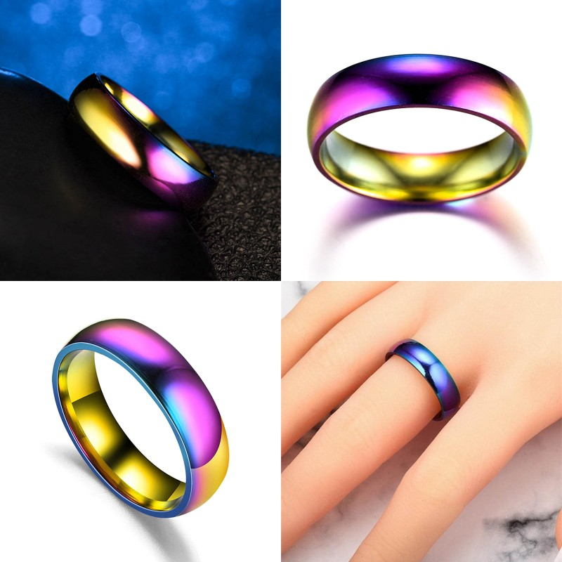 1PC Magnetic Therapy Lose Weight Rainbow Ring Titanium Steel RingSlim Ring Men Women Health Care Jewelry 16-23mm
