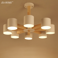 Creative Simple Solid Wood LED Pendant Lamp For Living Room 3 6 8 Heads White Black