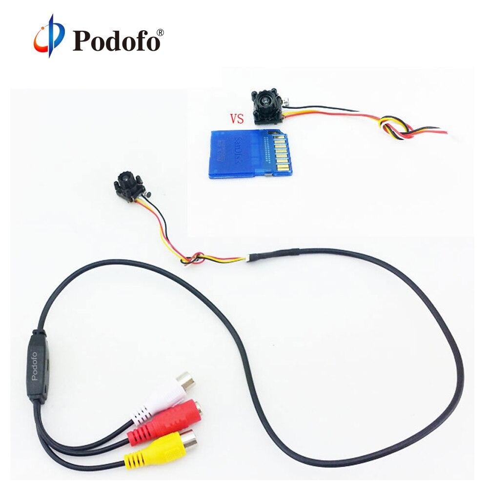 Podofo Nova Menor CCTV cam 600TVL 4 LED Night IR DIY Mini Câmera HD CMOS Câmera com Mic Mini Segurança câmera Pin Hole