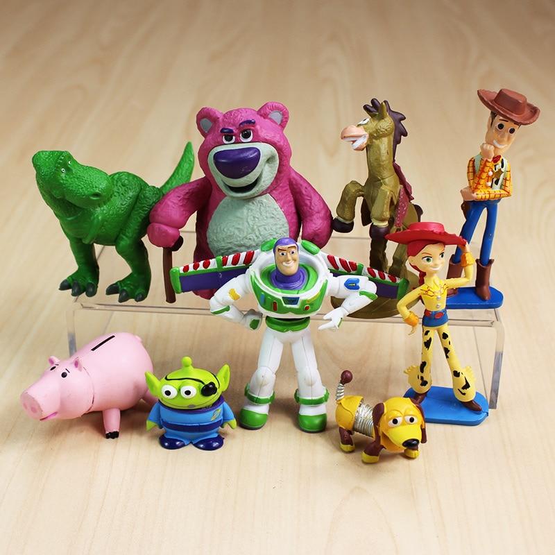 9pcs Lot Toy Story Figures Woody Buzz Lightyear Jessie Rex