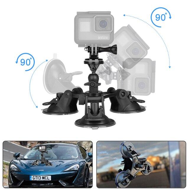 משולש ואקום יניקה גביע הר שמשה קדמית רכב רכב הוד מחזיק עבור Eken H9R SJ7 כוכב SJ8 פרו Insta360 אחד X ספורט מצלמת וידאו